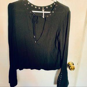 COPY - Free People Black Wide Sleeve Shirt